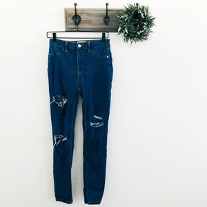 Free People Distressed High Rise Straight Jeans 28